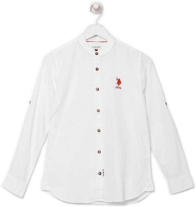 13d85dadd7e2 US Polo Kids Boys Self Design Casual White Shirt - Buy US Polo Kids Boys  Self Design Casual White Shirt Online at Best Prices in India   Flipkart.com