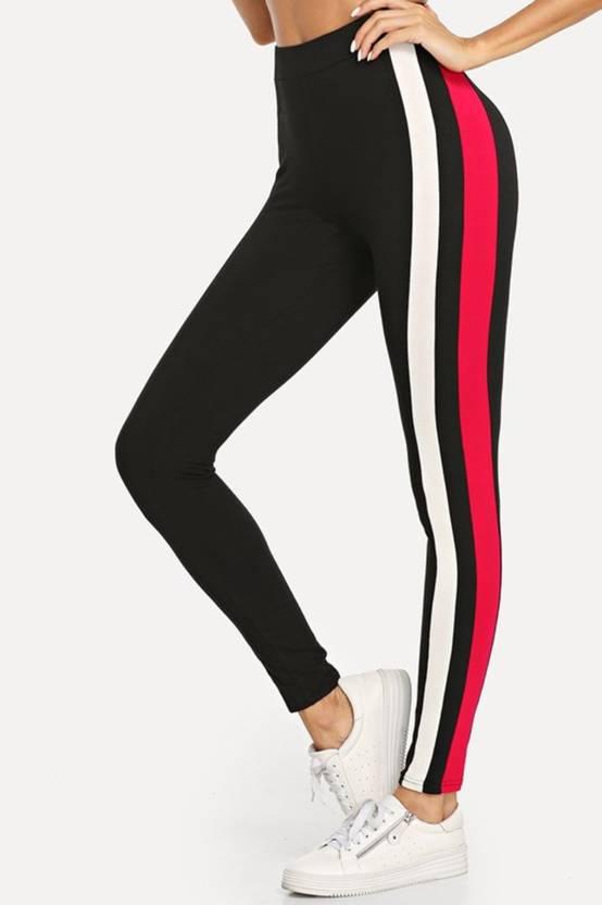 e4f56bcbf4fd6 Blinkin Striped Women Black Tights - Buy Blinkin Striped Women Black Tights  Online at Best Prices in India | Flipkart.com