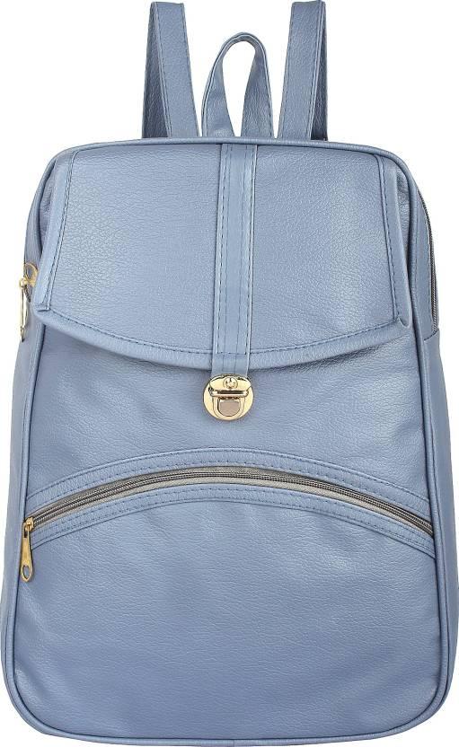 02903517ea Rajni Fashion PU Leather Backpack School Bag Student Backpack Women Travel  bag Tuition Bag 12 L Backpack (Blue)