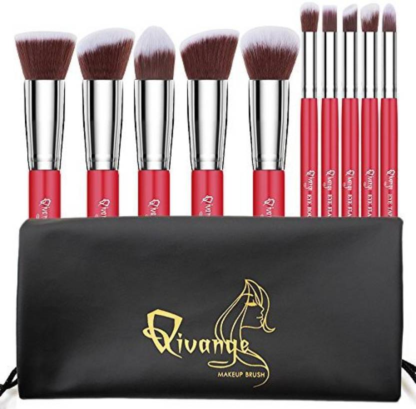 Qivange Makeup Brush Set Vegan Bronzer Labeled Foundation
