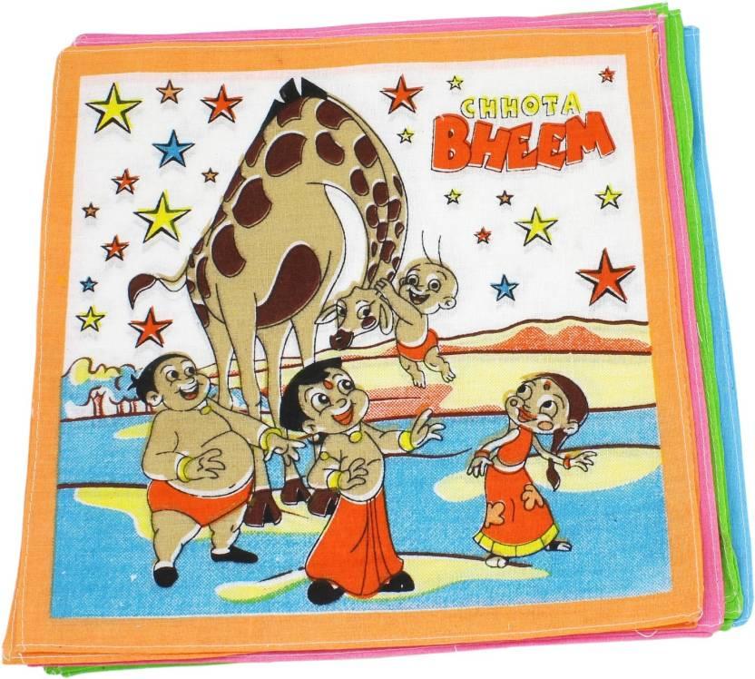 258d2621d Neska Moda Kid's Chhota Bheem Cotton 27x27 CM Handkerchief (Pack of 12)