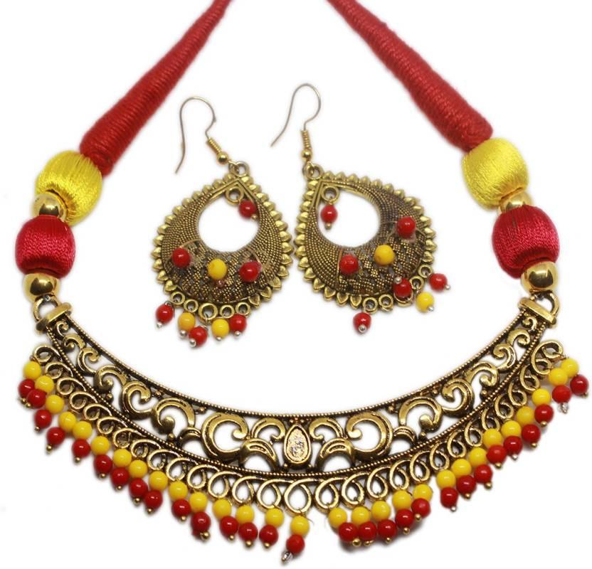 056d0edee Thanksouma Cotton Dori Jewel Set Price in India - Buy Thanksouma ...