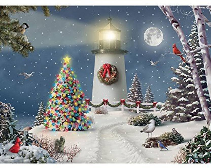 b0c77998e1b8 Bits and Pieces 500 Piece Jigsaw Puzzle for Adults Coastal Holiday Lights  500 pc Christmas Tree Lighthouse Jigsaw by Artist Alan Giana (500 Pieces)