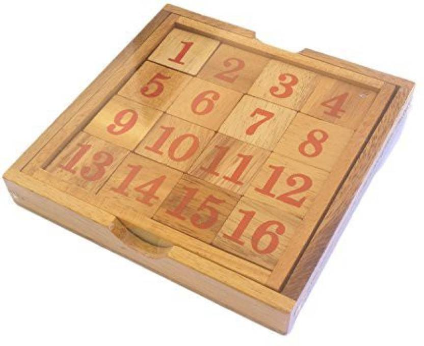 CMStar Portable Wooden 15 Puzzle Game - Portable Wooden 15