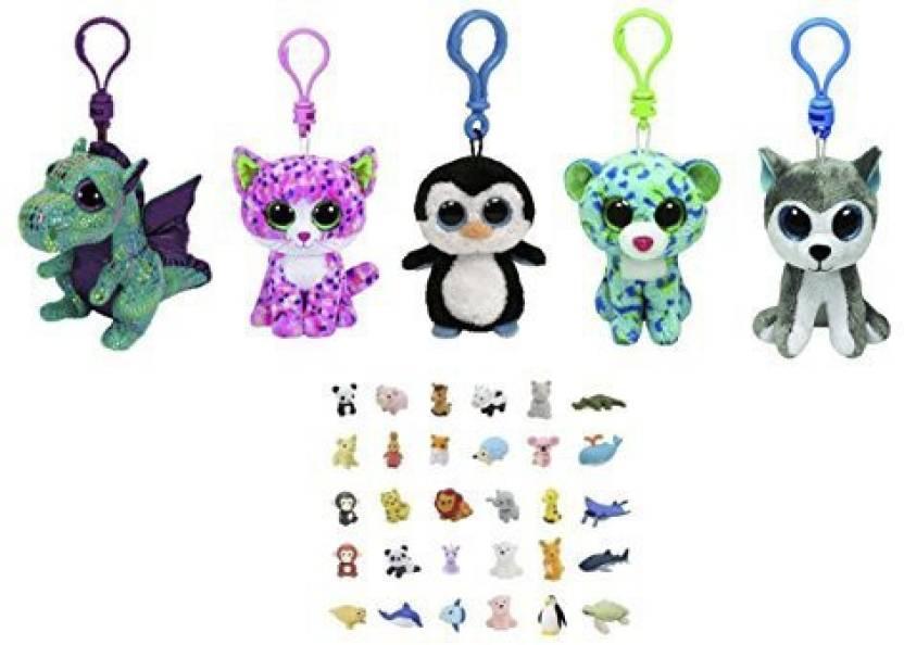 ReBL LLC Bundle Set of 5 Clips Key Chain Plush Toys Pink CatGreen  DragonGreen Blue LeopardPenguinand Husky with Bonus One Animal (1 Pieces) 88f329f03630