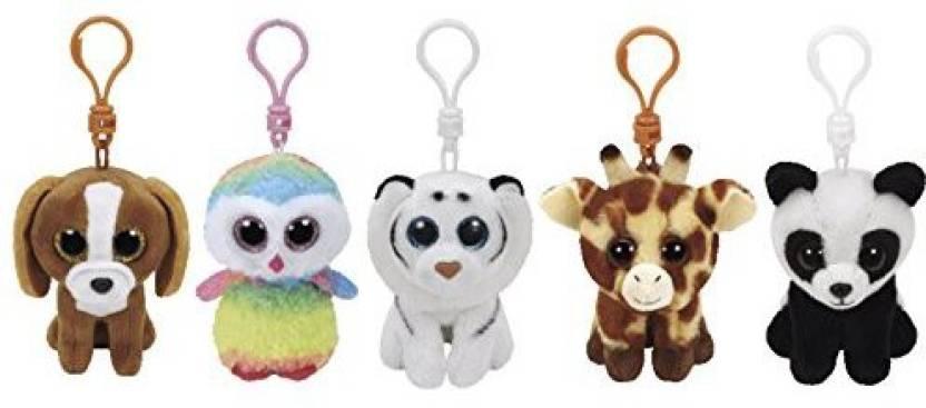 ReBL LLC Ty Stuffed Animals Beanie Boo 5 Clips Keychains Plush Toys Bundle  Set With ONE BONUS Animal Puzzle Eraser (1 Pieces) a7c0d7d45d51