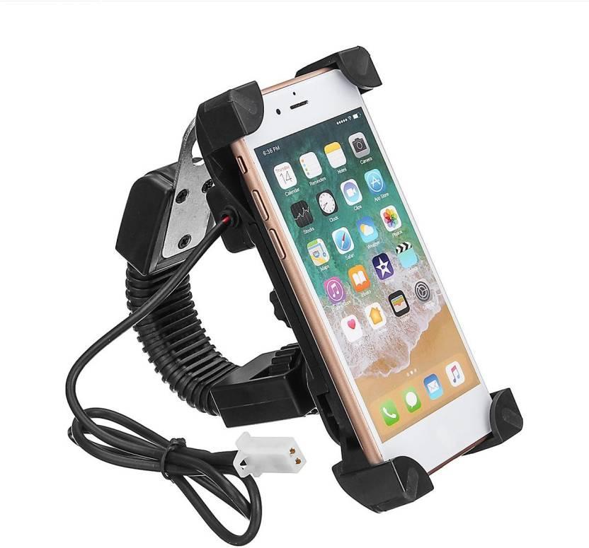 SAFESEED Universal Bike Mobile Holder Mirror with USB Charger Bike Mobile Holder