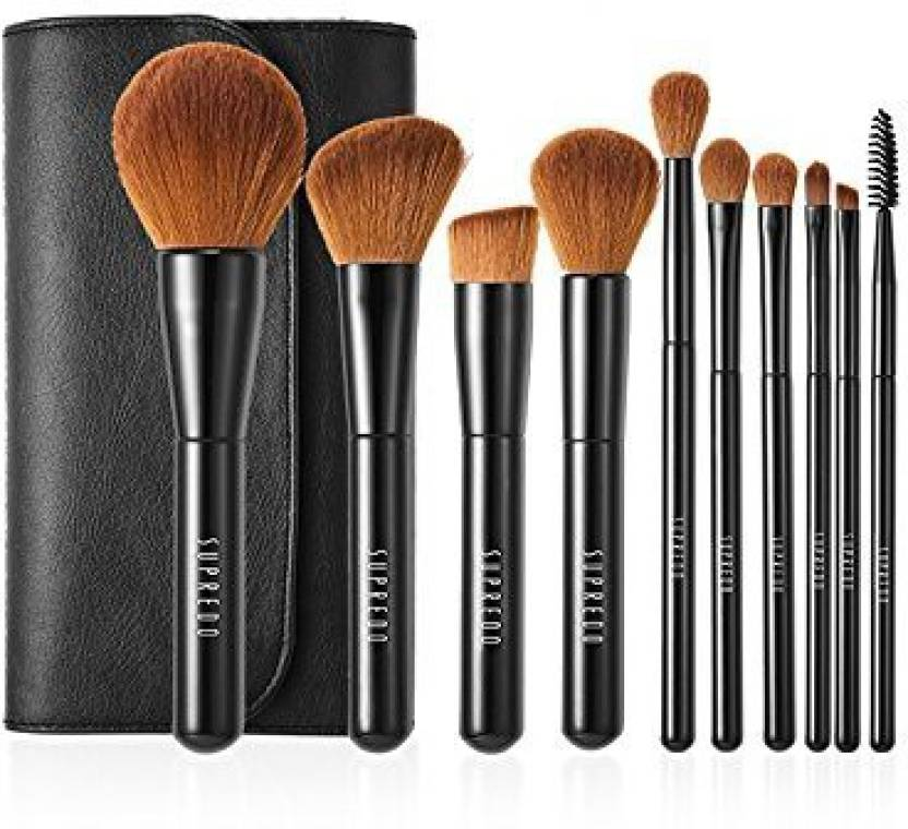 0cdf6bb144 Genrc Supredo 10 Pieces Professional Oval Foundation Makeup Brushes Set  Tools Blending Face Powder Blush Concealers