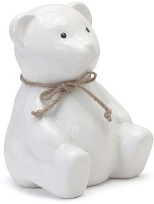 Child To Cherish Ceramic Teddy Bear Piggy Bank White Coin