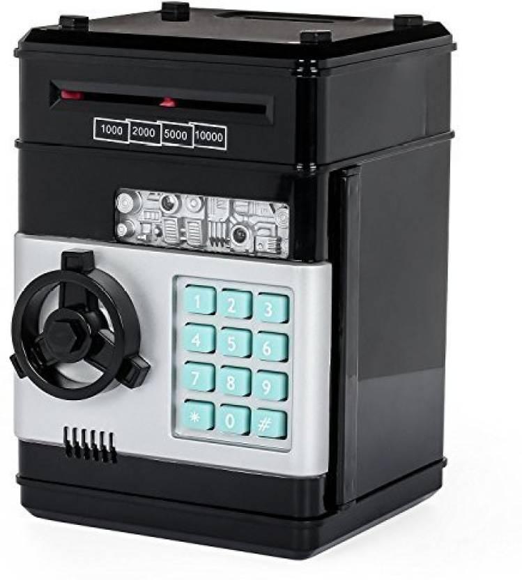 Stylebeauty Electronic Password Piggy Bank Cash Coin Can Money Locker Auto Insert Bills Safe Box Atm Saver Birthday Gifts For Kids Black
