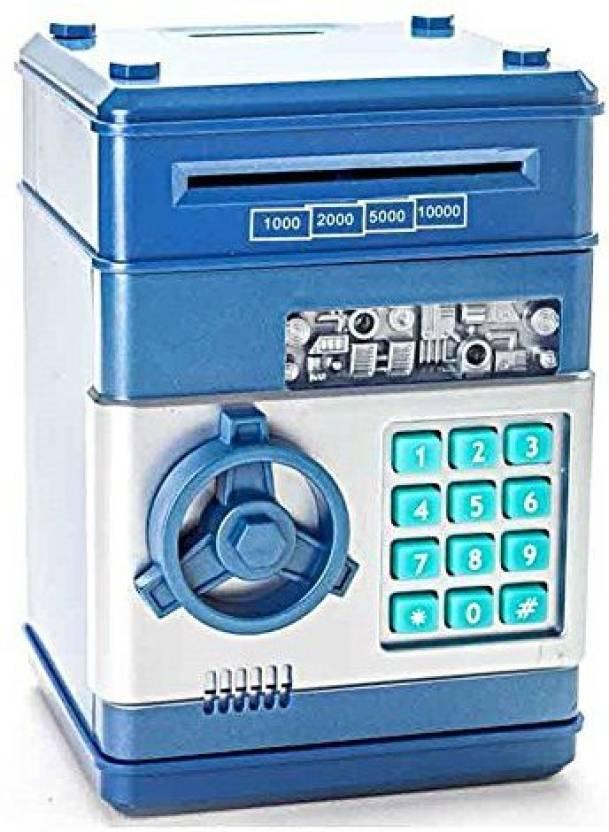 Stylebeauty Electronic Password Piggy Bank Cash Coin Can Money Locker Auto Insert Bills Safe Box Atm Saver Birthday Gifts For Kids Blue