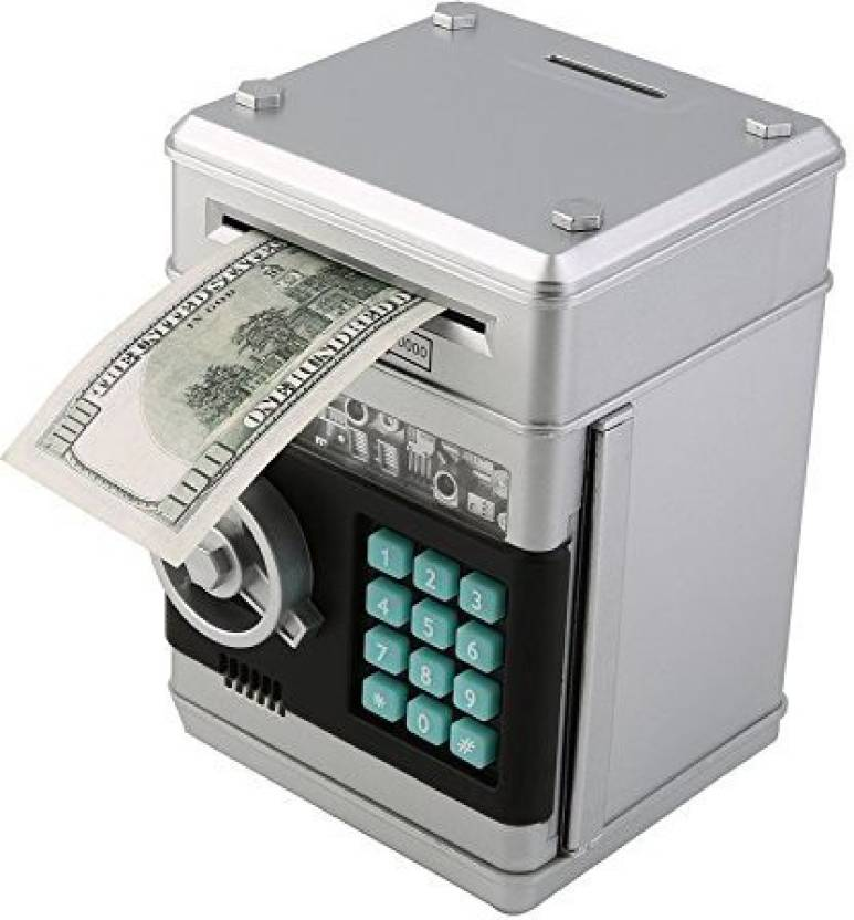 Stylebeauty Electronic Password Piggy Bank Cash Coin Can Money Locker Auto Insert Bills Safe Box Atm Saver Birthday Gifts For Kids Silver