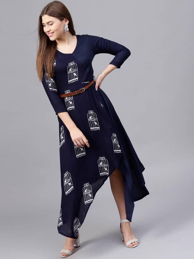 081a86f8f4764 Athena Women s High Low Dark Blue Dress - Buy Athena Women s High Low Dark  Blue Dress Online at Best Prices in India