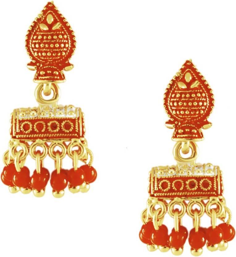 63f04a765 Flipkart.com - Buy Panachee Temple Jewellery Gold Coated Multilayer Beads  Statement Drop Tassel Jhumki Jhumka Earrings Alloy Jhumki Earring Online at  Best ...