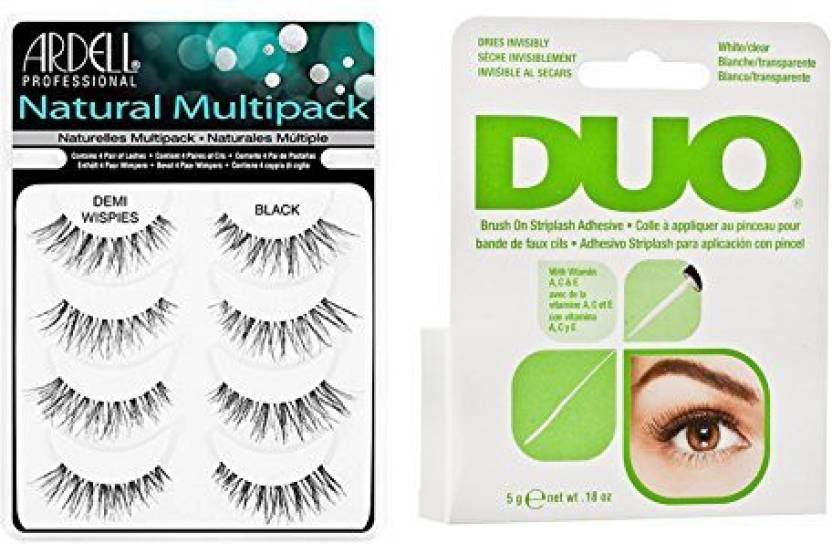 979a765b70c Ardell Duo Brush On Lash Adhesive With Vitamins A C E Clear 0 18 Oz  Multipack Demi Wispies Fake Eyelashes (Pack of 1)