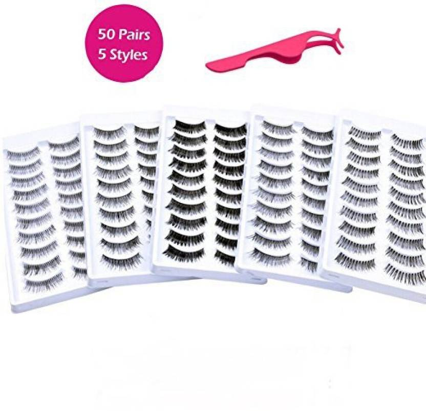 e90843180d1 Cerroqreen Eyelashes 50 Pairs 5 Styles Lashes With Free Eyelash Tweezer  Handmade Professional Very Natural Soft And Comfortable False Set (Pack of  5)