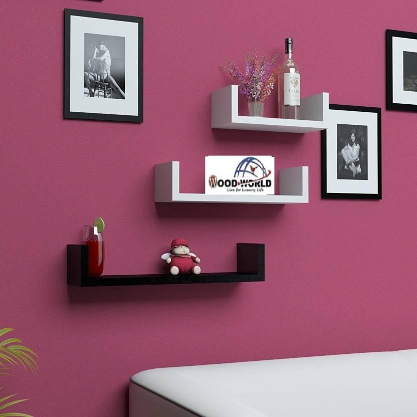 e9f193c1c7 WoodWorld `decoretive 3 set of u – shaped Floating Wall Shelf MDF Wall Shelf  (Number of Shelves - 3, Black, White)