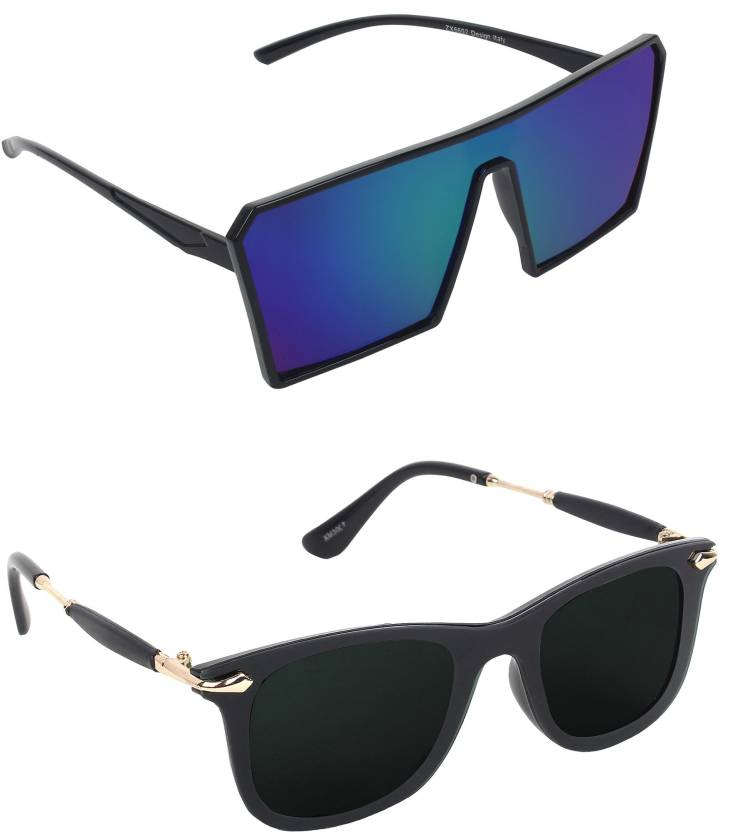 eff49b2fd Pogo Fashion Club Wayfarer Sunglasses (Black, Blue, Green, Multicolor)