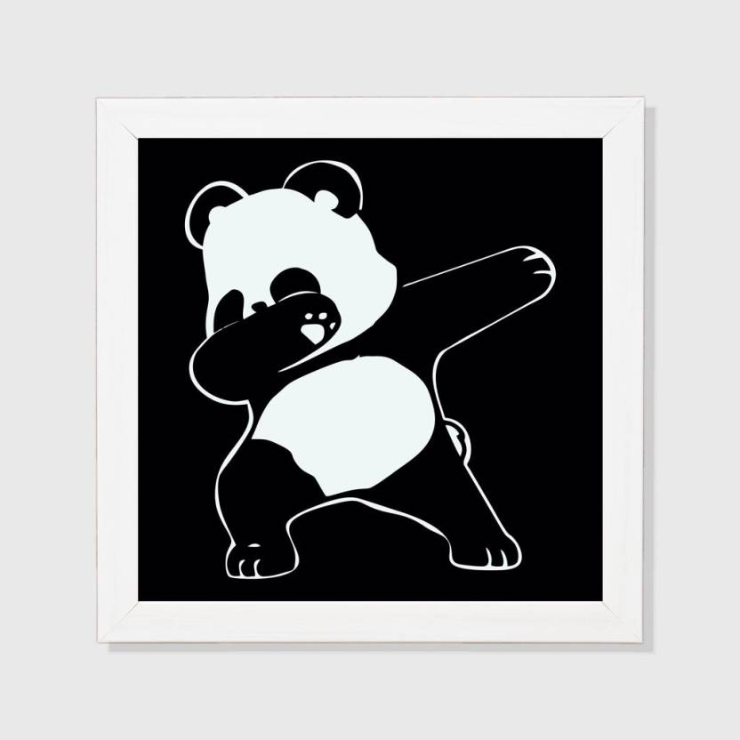 Swag Panda White Framed Wall Hanging 8x8 Inch Paper Print