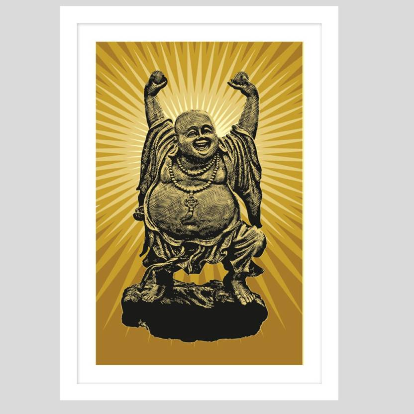 Laughing Buddha White Framed Wall Hanging 12x18 Inch Paper Print