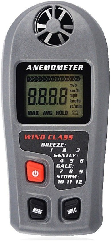 Handheld Wind-Speed Gauge Meter Thermometer with LCD Display for Surfing Drone Flying Sailing Kite Flying Digital Anemometer