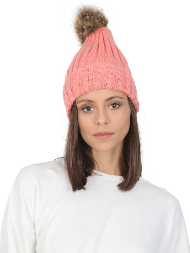 6f0285ec166 FabSeasons Self Design Acrylic Woolen Winter skull cap with faux fur lining    Pom Pom for Girls   Women Cap - Buy FabSeasons Self Design Acrylic Woolen  ...