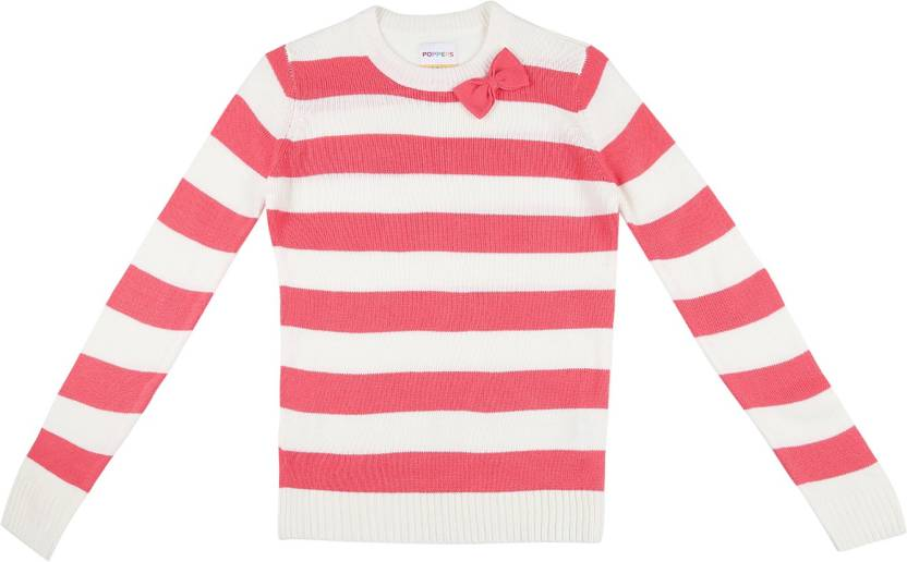 f49171e5344 Poppers by Pantaloons Striped Round Neck Casual Girls Pink Sweater ...