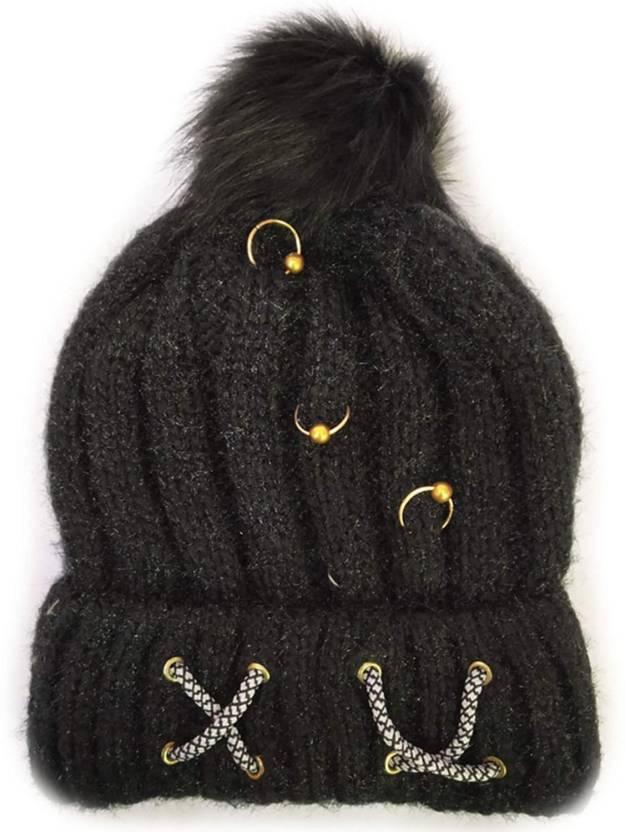 Grab Offers Women Girl s Winter Skull Hat Wool Knitted with Fur Pom Cap  (Random Color - 1 Pcs) Cap - Buy Grab Offers Women Girl s Winter Skull Hat  Wool ... fba054440d