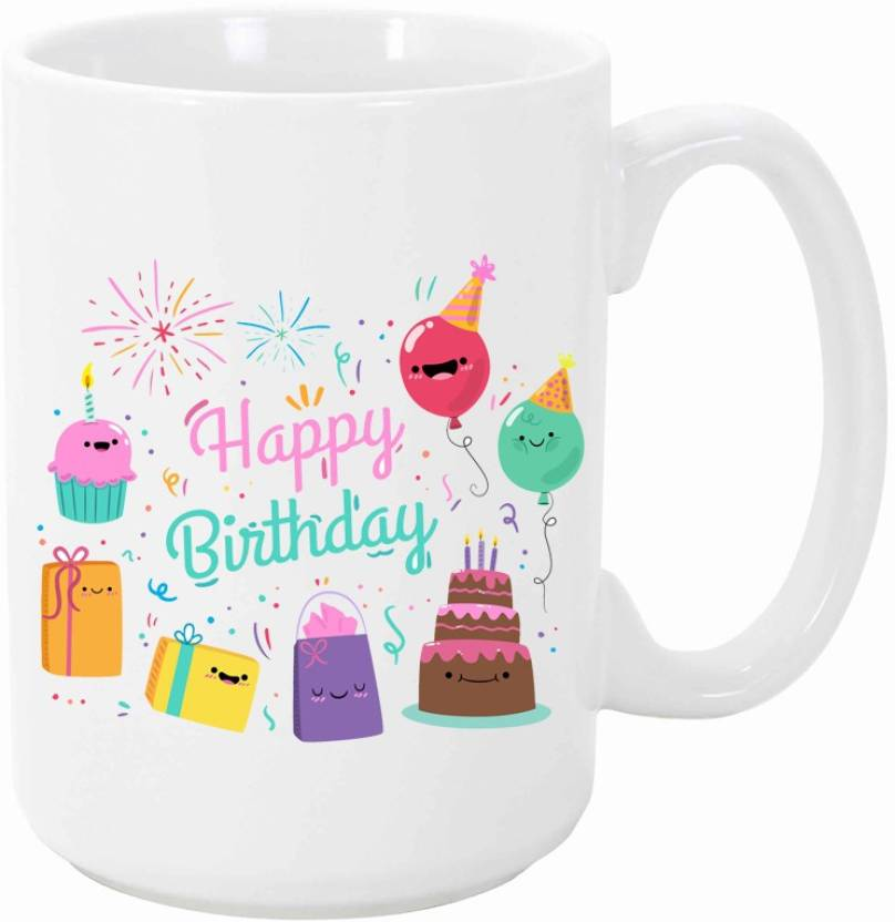 Misty Premium Happy Birthday Cake And Gift Printed Pack Of 1 Ceramic Mug 330 Ml