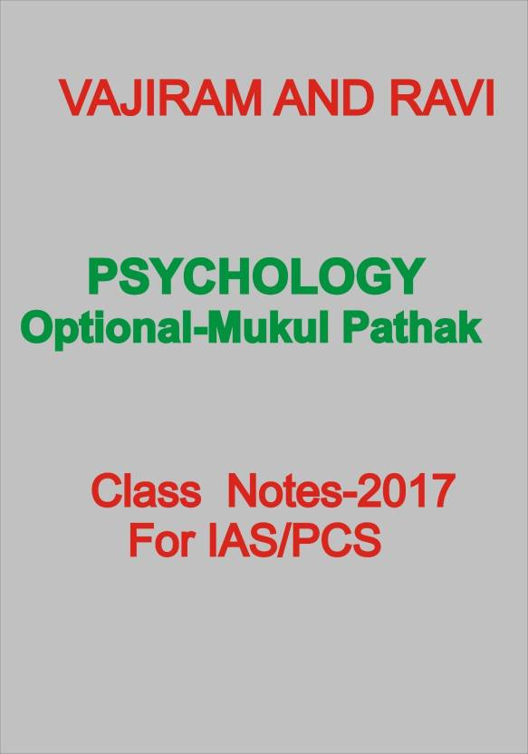 Vajiram And Ravi Psychology Optional Class Notes For Ias-Mukul