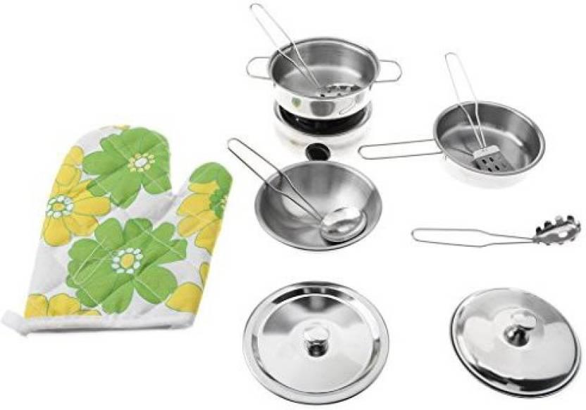 1b7406d43610 Genrc Homyl 11 Pieces Kids Pretend Play Stainless Steel Cookware ...