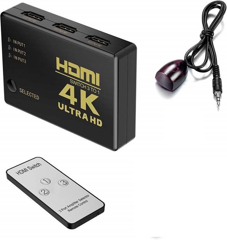 Protokart HDMI Switch 4k Intelligent 3-Port HDMI Switcher Splitter