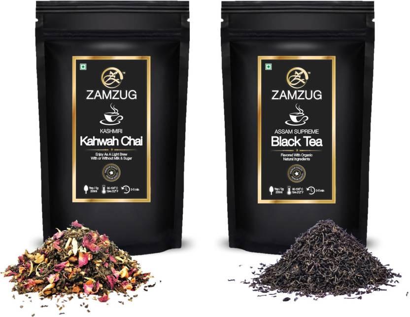 zamzug Kashmiri Kahwah Premium Green Tea, Almond, Cardamom, Clove,  Cinnamon, Ginger, Rose Petal   Saffron   Assam Supreme Black Tea (Pack of 2    50 gram ... 10f3d86bdc1