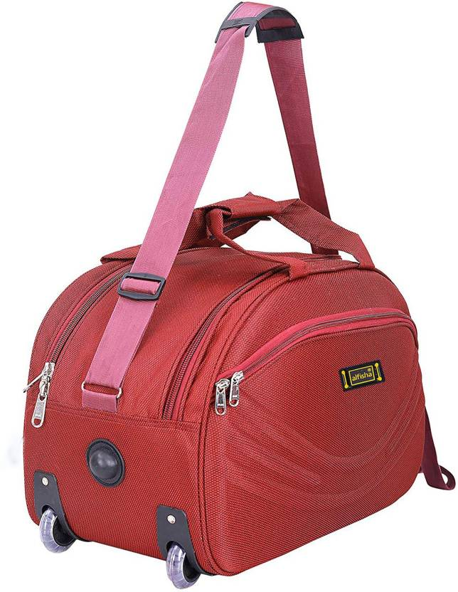 alfisha (Expandable) Unisex Synthetic Lightweight Waterproof Luggage Travel  Duffel Bag with Roller wheels ( Red Sada, AFB-DUF-15) Duffel Strolley Bag  (Red) d0c202758a