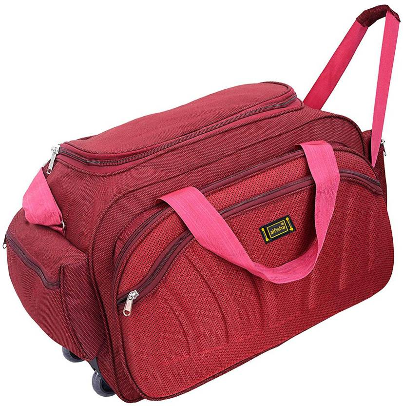 Alfisha (Expandable) Unisex Synthetic Lightweight Waterproof Luggage Travel  Duffel Bag with Roller wheels (S Red, AFB-DUF-15) Gym Bag (Red) c969d58650