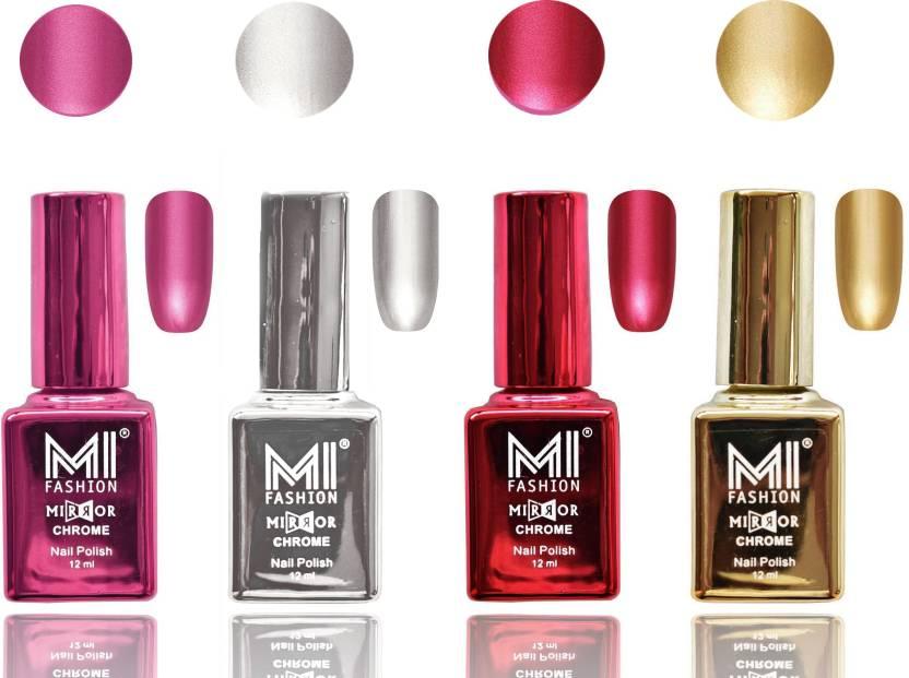 Volo Metallic Gel Nail Polish Set 4 Colors Chrome Shades Mirror Effect Lacquer