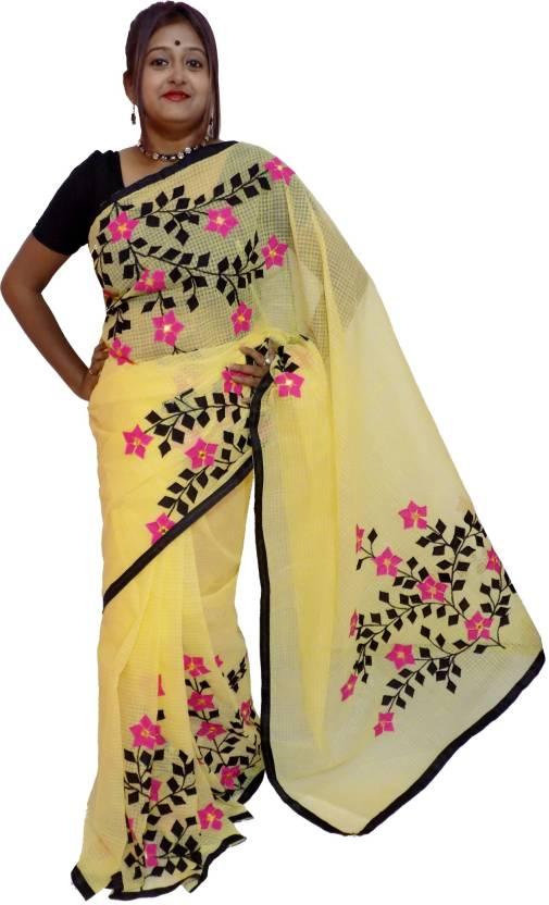 826f7d8f33 Buy KheyaliBoutique Applique Handloom Kota Cotton Yellow Sarees ...