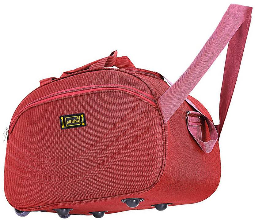 alfisha Unisex Synthetic Lightweight Waterproof Luggage Travel Duffel Bag  with Roller wheels (S Red, AFB-DUF-15) Small Travel Bag - 22 (Red) 04ea38ab06