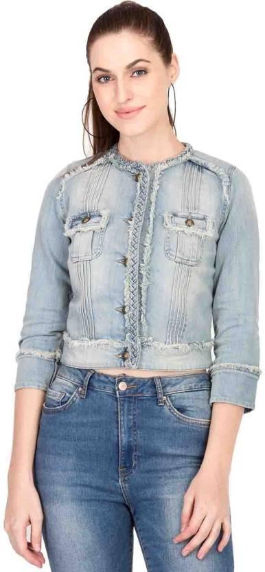 Kotty Half Sleeve Solid Women S Denim Jacket Buy Kotty Half Sleeve