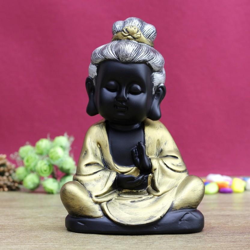 Monks Kids Statues Little Buddha Model Table Shelf Wine Cabinet Decor Silver