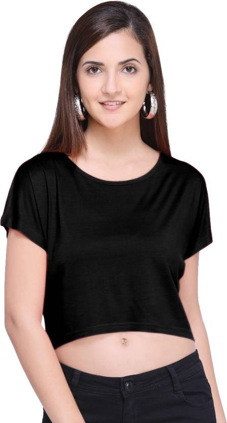 0e2298e683 KIAN SHOPEE Party Short Sleeve Solid Women's Black Top - Buy KIAN SHOPEE  Party Short Sleeve Solid Women's Black Top Online at Best Prices in India  ...