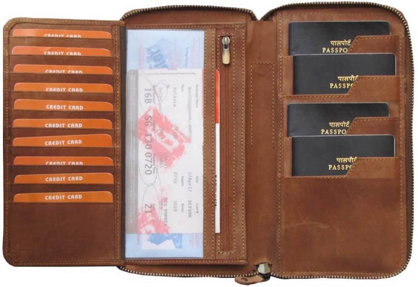 f583c2205c5e ABYS 100% Genuine Leather Travel Wallet//Passport Holder//Passbook Holder  for Men & Women