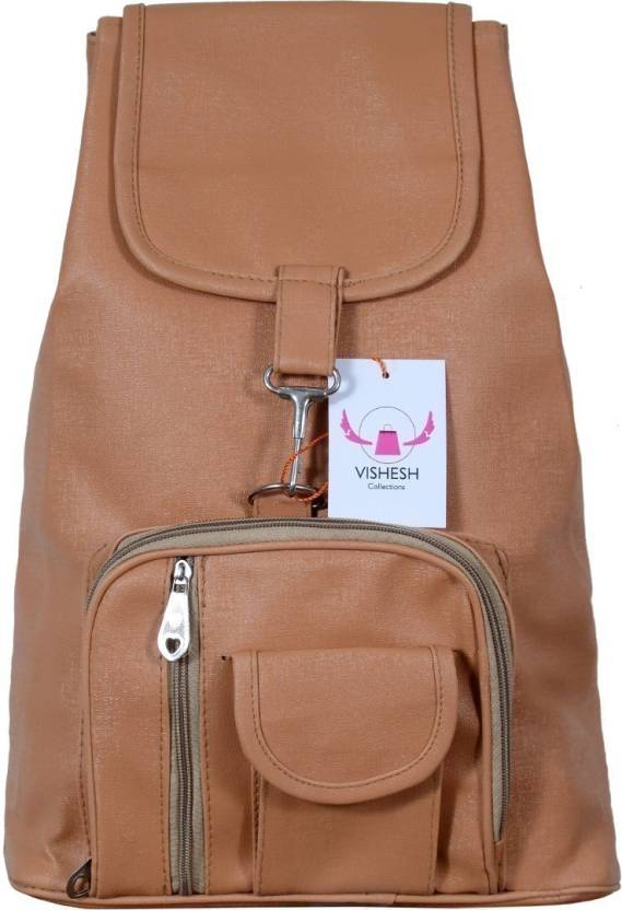 VISHESH COLLECTIONS Beige   Brown Pu Trendy backpack Bag For Women   Man  Backpack (Brown 48d4b51bb9cc0
