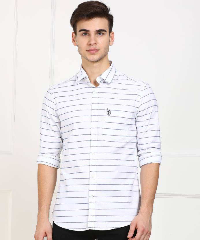 c3022046 U.S. Polo Assn Men's Striped Casual White Shirt - Buy U.S. Polo Assn Men's  Striped Casual White Shirt Online at Best Prices in India | Flipkart.com