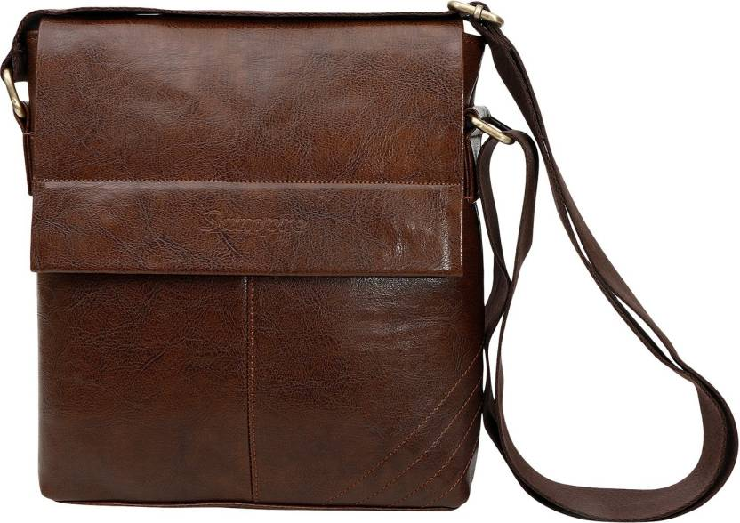 c10c739e9 sphinx Men Formal Brown Genuine Leather Sling Bag brown - Price in ...