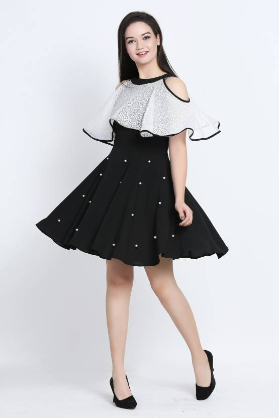 2375e2e63c Galaxy Trendz Women Fit and Flare Black, White Dress - Buy Galaxy Trendz  Women Fit and Flare Black, White Dress Online at Best Prices in India |  Flipkart. ...