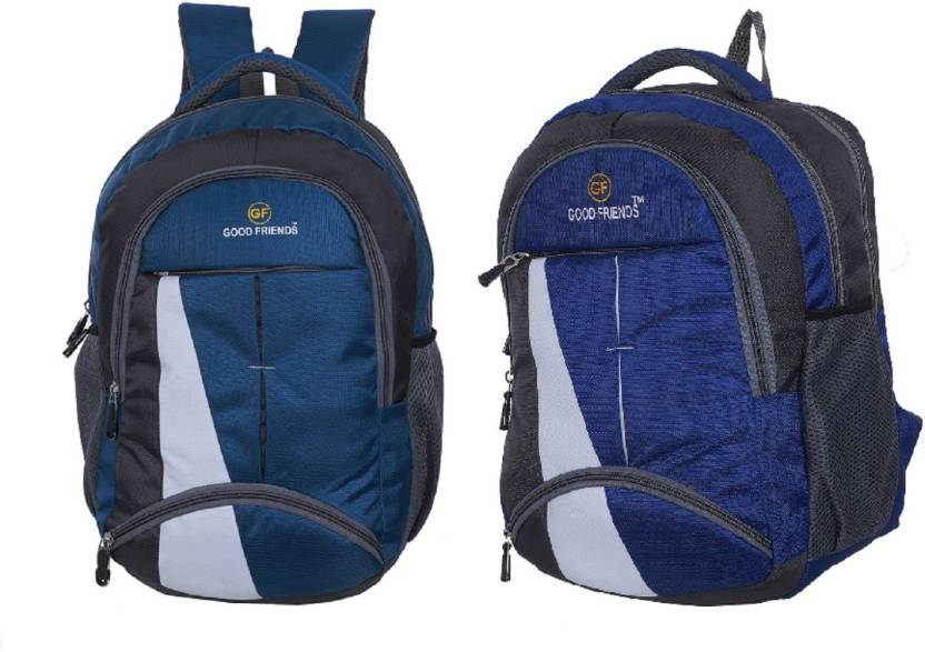 Good Friends New Festive Season Strong Backpack Pack Of 2 Waterproof School  Bag (Blue c9a93d46280e5