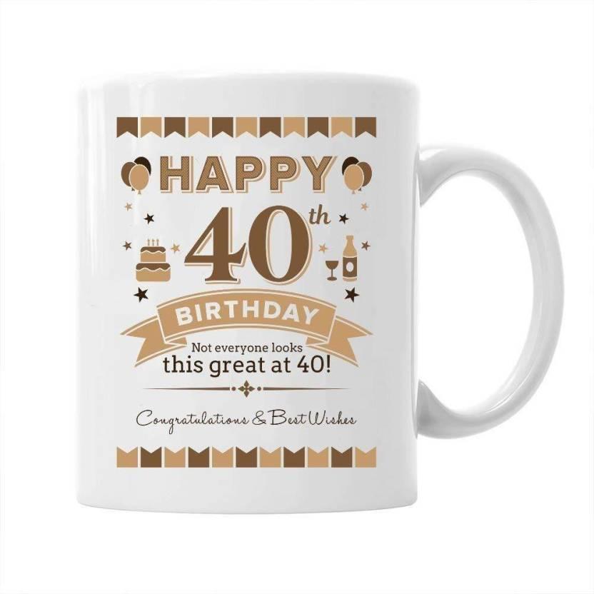 Pepronica Coffee For 40th Birthday Gift Ceramic Mug 350 Ml