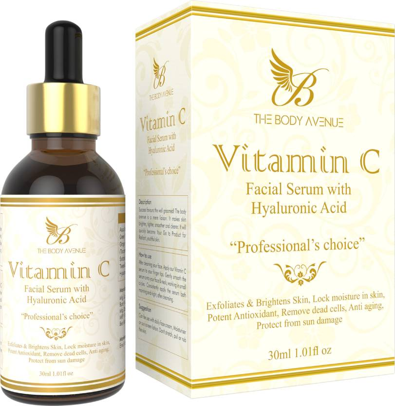 8f063f4eca2 The Body Avenue Vitamin C Skin Brightening, Anti Aging, Spotless Skin,Sun  Protection, Under Eye Circles, Facial Serum with Vitamin E and Hyaluronic  Acid (30 ...