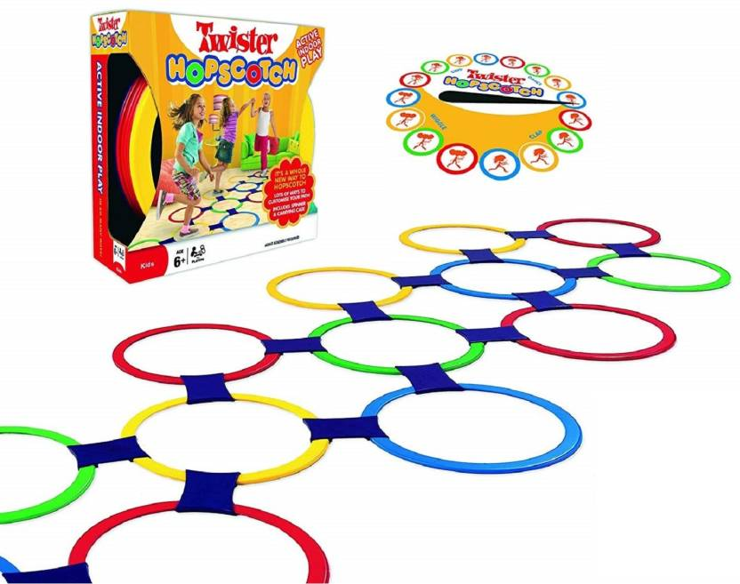 Emob Twister Hopscotch Active Indoor Play With Rings And Spinner